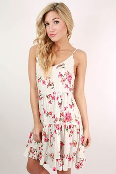 Dare To Shine Floral Babydoll Dress in White