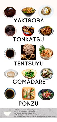 Serie de salsas que en algunos  casos son la base del plato y en otros un condimento indispensable que aporta el sabor japonésa lo que cocinamos.  yakisoba, tonkatsu, tentsuyu, gomadare y  ponzu.