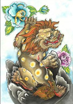 fu dog - Google Search Japanese Tattoo Art, Japanese Tattoo Designs, Japanese Sleeve Tattoos, Japanese Art, Foo Dog Tattoo, Lion Tattoo, Dog Tattoos, Tattoo Arm, Hand Tattoos