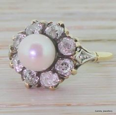 ANTIQUE VICTORIAN PEARL .80ct OLD CUT DIAMOND RING - 18k Gold - VINTAGE c 1850 (3-400 over 3 months pay)