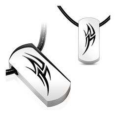 Stainless Steel Tag Pendant with Beveled Black Plated Tribal Thunder