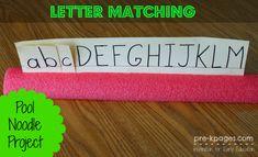 Letter Matching Pool Noodle Activity for #preschool or #kindergarten