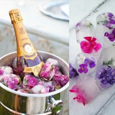 <MÊS DAS NOIVAS> UM BRINDE AOS NOIVOS | deixe o balde do espumante mais charmoso, decorando os gelos com flores comestíveis.  #mêsdasnoivas #noivas #ficaadica #jantardenoivado #Tecnisa Foto: ClipZine