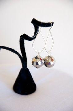 Funky Diamond Dangle Silver Crystal Earrings