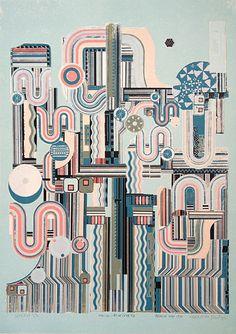 Eduardo Paolozzi: Torstai - Keskivukko (blue) (1975) Print for Sale | modernprints.co.uk Eduardo Paolozzi, Gcse Art, Circuit Board, Textile Art, Art Inspo, Printmaking, Screen Printing, Monsters, Robot