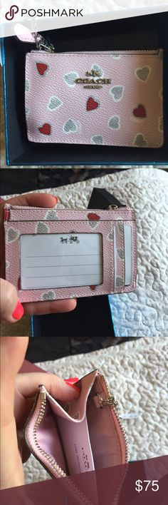 Small pink coach coin/key w/box Very cute with heart 💕brand new Coach Accessories Key & Card Holders