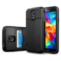 Galaxy S5 Case, Spigen® [Card Holder] Samsung Galaxy S5 Case [Armor] [Slim Armor Card Slider CS Smooth Black] Slim Fit Dual Layer Protective with Slide Card Holder Back Plate Wallet Case for Galaxy S5 / Galaxy SV (2014) - CS Smooth Black (SGP10982) Spigen http://www.amazon.com/dp/B00JW673RQ/ref=cm_sw_r_pi_dp_Snztub1NZF6YP