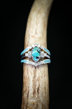 Women's White Gold Wedding Band Set with Turquoise and Diamonds. Handcrafted by Staghead Designs. Women's White Gold Wedding Band Set with Turquoise and Diamonds. Handcrafted by Staghead Designs. Turquoise Wedding Rings, Turquoise Diamond Rings, White Gold Wedding Bands, Wedding Band Sets, Diamond Wedding Bands, Turquoise Stone, Diamond Earrings, Turquoise Jewelry, Turquoise Engagement Rings