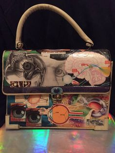 Cool human optical anatomy and eyesight eyeball related decoupage handbag vintage made new again purse. Designed with hours of love by me.