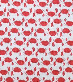 "Novelty Cotton Fabric 44""-Crabs On Cream"