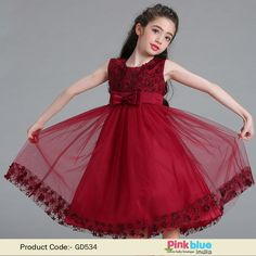 Kids Maroon Party wear Dress for Weddings | Baby Girl Sleeveless Occasion wear Frock in knee length, Buy Children Clothes Online at PinkBlueIndia.com