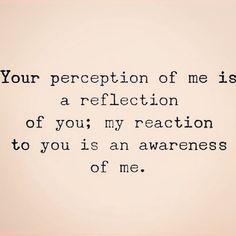 Tu perspción de mí es un reflejo de ti: mi reacción a ti es una conciencia-