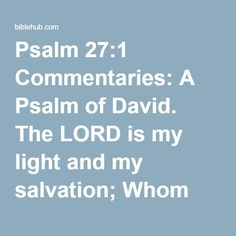 Psalm 27:1 Commentaries: A Psalm of David. The LORD is my light and my salvation; Whom shall I fear? The LORD is the defense of my life; Whom shall I dread?