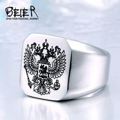 Kühlen Adler Ring mit Einem Wappen der Russischen Ring Edelstahl Mann Hohe Qualität Schmuck Ring Russischen Stil BR8-320