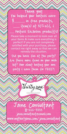 ThirtyOne Party Punch Thank You Rack Card by RedesignRestyle, $12.95