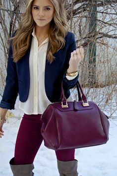Deep wine bag and skinnies, cream blouse, dark navy blazer...pretty color combo