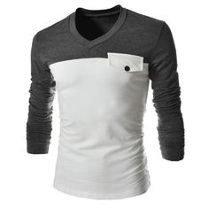 Modish V-Neck Polyester T-Shirt Two Color Splicing, Fake Pocket, Slimming Long Sleeve Polyester V-Neck T-Shirt For Men. Pattern Type Patchwork Very Important: These are not US sizes. To convert to US