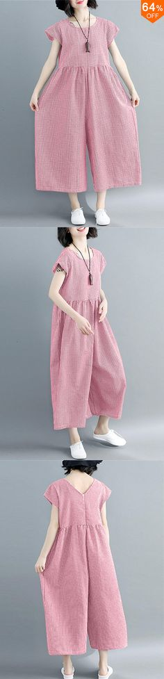 Short-sleeved O-neck trousers with wide legs, loose, casual, checked overall – comfy travel outfit summer Boho Summer Outfits, Cool Outfits, Casual Outfits, Casual Clothes, Summer Dresses, Comfy Travel Outfit, Travel Outfit Summer, Wide Leg Pants, Wide Legs