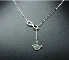 Vintage Inspired Fashion Necklace Silver Bird Infinity Charm Now On Sale