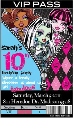 FREE Printable Monster High Birthday Invitation Party Pinterest