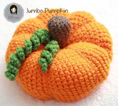 """This jumbo pumpkin is crocheted using 2 strands of worsted weight yarn held together throughout. Don't like working with 2 strands together? Try using bulky #5 or super bulky #6 yarn to achieve a similar sized pumpkin. """