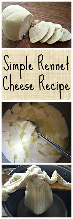 An easy recipe for super tasty homemade cheese! (Cheese Making) No Dairy Recipes, Milk Recipes, Cheese Recipes, Real Food Recipes, Cooking Recipes, Cheese Dips, Easy Cheese, Cooking Tips, Fromage Vegan