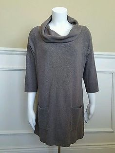 Love Always Cowl Neck Tunic Sweater Tan Brown XLarge New 3/4 Sleeve Pockets