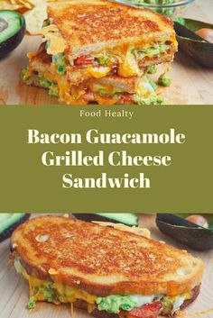 A buttery and toasty grilled cheese sandwich stuffed with cool and creamy guacamole, crispy bacon and melted jack and cheddar cheese. The crunchy crumbled tortilla chips in this grilled cheese pay tribute to the classic combination of tortilla chips and guacamole dip. #Bacon #GuacamoleGrilled #Cheese #Sandwich