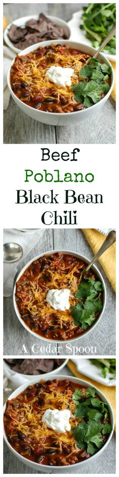Beef Poblano Black Bean Chili: perfect for game day // A Cedar Spoon