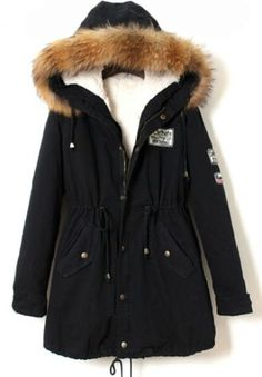 Navy Raccoon Fur Hooded Drawstring Parka pictures $35