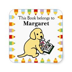 Curious Yellow Labrador Puppy Book Labels for book lovers!  #labradorretriever #labrador #yellowlabrador #dog #booklabel