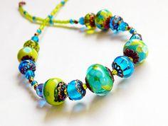 Bohemian lampwork necklace Blue Green Glass by MarianneMerceria