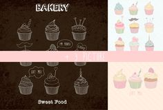 Сupcakes patterns and illustration by Julia Dreams on Creative Market