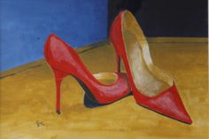 Rode hakken (acryl)