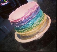 Pastel Inspired Rainbow Ruffle Cake!