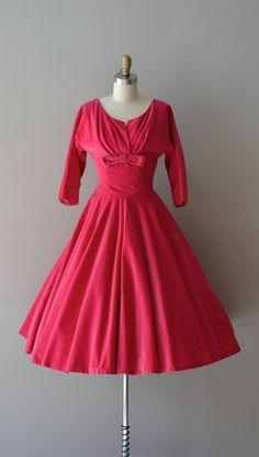 St. Valentine dress / vintage 1950s dress / pink velvet 50s dress