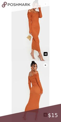 💓💓Ribbed Off Shoulder Midi Dress WORN ONCE Purchased from IG Boutique Material is heavier than pictured and Burnt Orange Dresses Midi Burnt Orange Dress, Plus Fashion, Fashion Tips, Fashion Trends, 15 Dresses, Peplum Dress, Curvy, Plus Size, Boutique