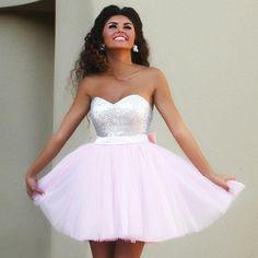 2016 New Pink Short Prom Dresses Sweetheart Top Sequins Tulle Light Pink Cocktail Dresses Back Bow Elegant Party dresses