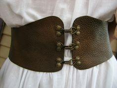 Custom Handmade Leather Corset Cinch Belt Renaissance Style