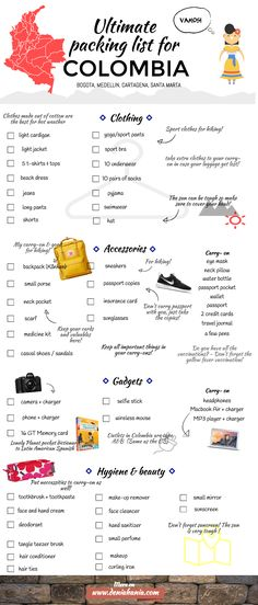 This is your ultimate packing list for Colombia! Find out what you should at least bring with you to have great travels!   www.deniahania.com