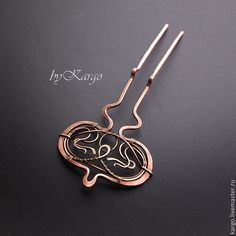 Купить Шпилька Rivola - шпилька, заколка, wire wrap, art nouveau, проволока, подарок, медь