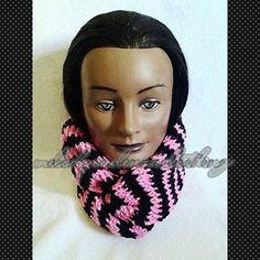 Women's Hot Pink/Black Striped Infinity Scarf www.melodycadenzaclothing.com #Crochet #Handmade #Beanie