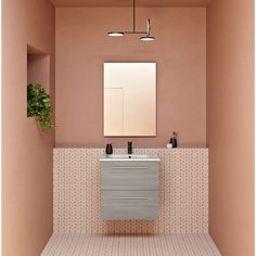 Orren Ellis Dermott 20 Wall-Mounted Single Bathroom Vanity Set with Mirror Orren Ellis Bathroom Red, Single Bathroom Vanity, Bathroom Wall, Bathroom Interior, Modern Bathroom, Small Bathroom, Master Bathroom, Bathroom Ideas, Orange Bathrooms