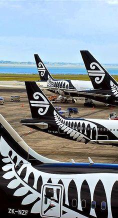 Travel Inspiration for New Zealand - Air New Zealand aircraft tails, Auckland International Airport