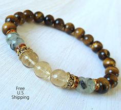 Protection, prosperity,  Prehnite, Citrine, gemstone bracelet, Yoga Bracelet, mala, healing bracelet, Tiger eye reiki, Healing bracelet