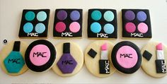 MAC makeup and nail polish cookies in bright pinks, blues and purples. Cute for a Makeup party! Fancy Cookies, Iced Cookies, Cute Cookies, Cupcake Cookies, Spa Cookies, Fondant Cookies, Polish Cookies, Fashion Cupcakes, Makeup Themes