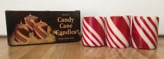 Vintage Set of 3 Giftco Candy Cane Peppermint Scent Votive Candles NEW #Giftco
