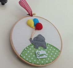 Personalised embroidery hoop art.  New baby gift.  Elephant nursery art