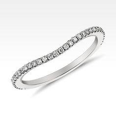 Monique Lhuillier Curved Pavé Diamond Ring in Platinum ct. Diamond Anniversary Bands, Diamond Wedding Bands, Diamond Rings, Womens Wedding Bands, Wedding Rings For Women, Rings For Her, Pave Ring, Marquise Diamond, Blue Rings