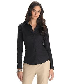 Non-Iron Tailored Fit Dress Shirt with XLA - Brooks Brothers Fitted Dress Shirts, Dress Shirts For Women, Blouses For Women, Shirt Dress, Ladies Dresses, Bow Blouse, Black Button Down Shirt, Professional Wardrobe, Slim Fit Pants